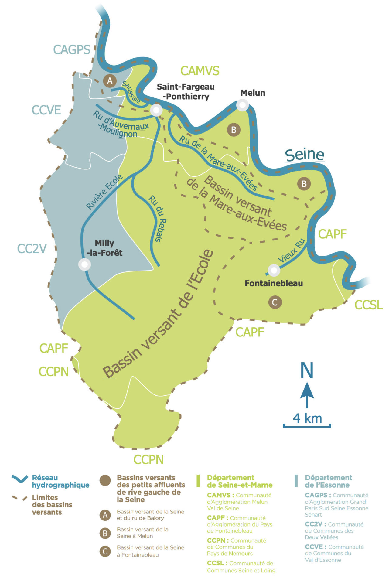 Les cinq bassins versants en quelques chiffres