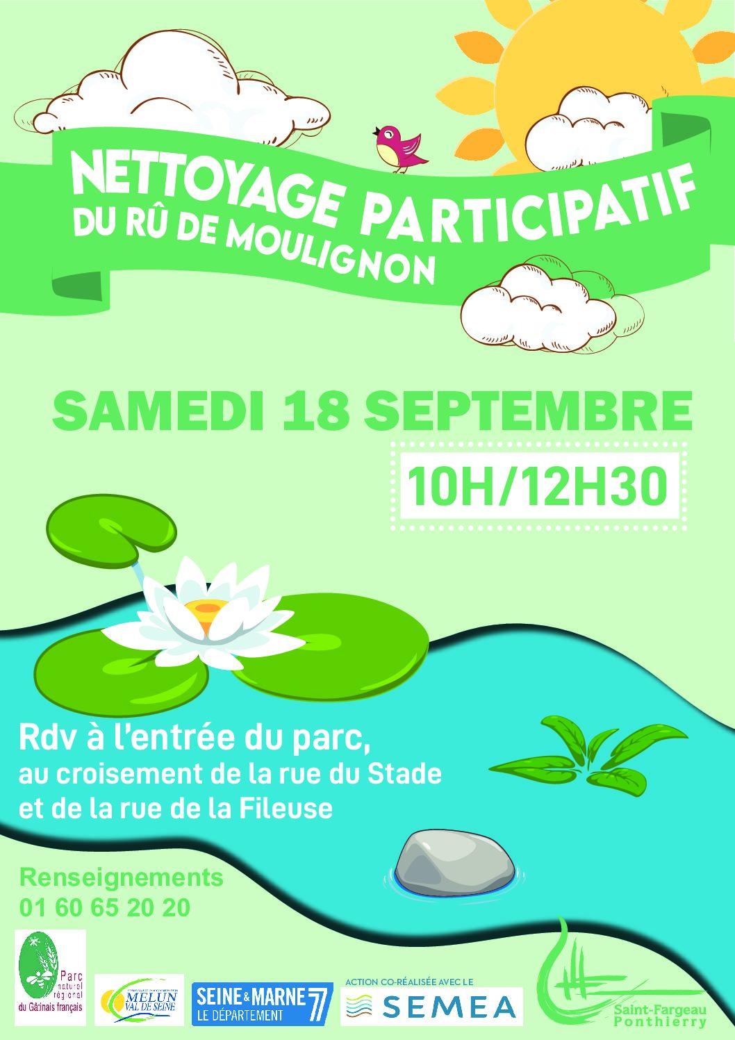 Nettoyage participatif du ru de Moulignon à Saint-Fargeau-Ponthierry